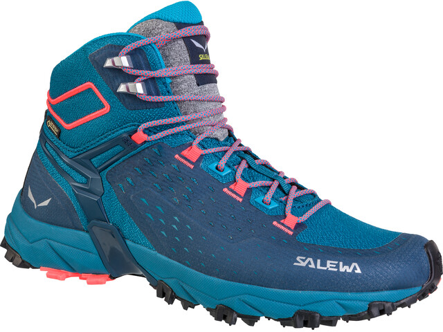 Salewa W's Alpenrose Ultra Mid GTX Shoes Blue Sapphire/Fluo Coral